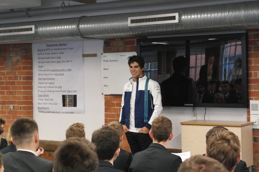 Lance Stroll at The JCB Academy Sixth Form